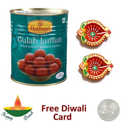 Gulab Jamun with a Pair of Diya