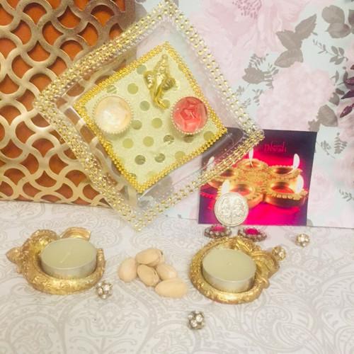 Diwali Thali Pistachios & Diya