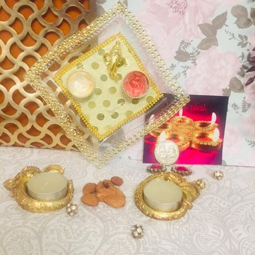 Diwali Thali Nuts & Diya