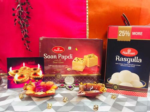 Deepavali Soan Papadi with Diya Pair