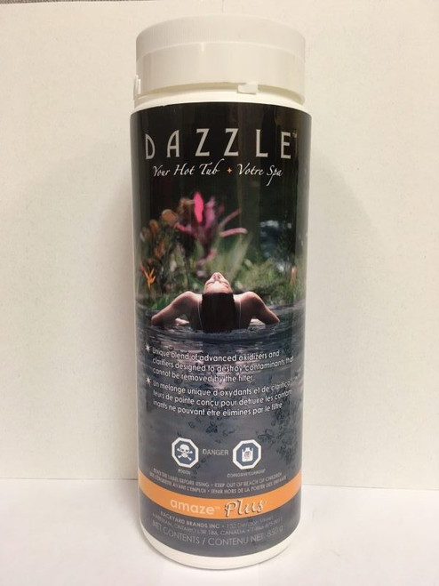 DAZZLE Amaze plus  Hot Tub Spa Shock ( 800 gr )       All the benefits of our popular shock, Amaze, but with a chlorine boost. Possessing strong oxidation potential, Amaze Plus is ideal for weekly use to rid hot tub spa water of non-filterable wastes, restore water sparkle and comfort and provide a 2.0 – 3.0 ppm boost to the chlorine residual. Contains 'active oxygen,' classifiers, water enhancers and a fast dissolving stabilized chlorine compound for optimal performance. Can be used with any sanitizer program including bromine and salt chlorination ( call us for more info 1-855-248-0777 and or order online today )