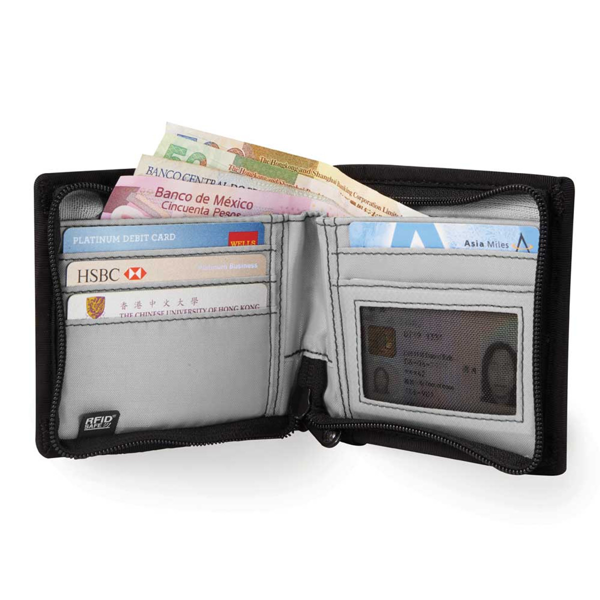 Pacsafe Z100 Z series wallet bifold inside
