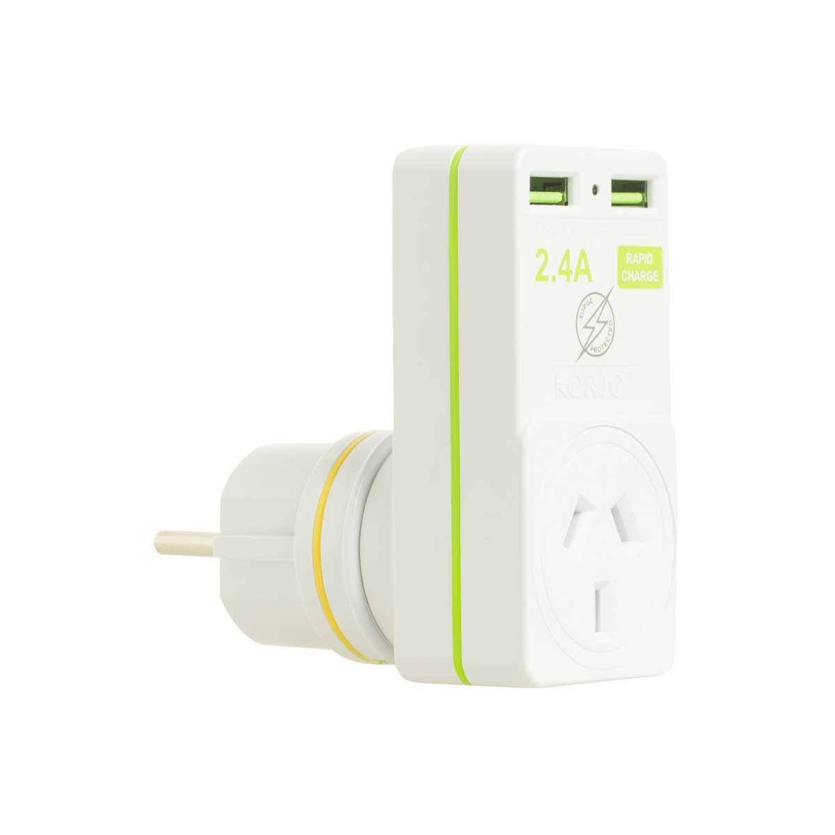 Korjo 2 port USB charger and adaptor Australia and NZ to Europe