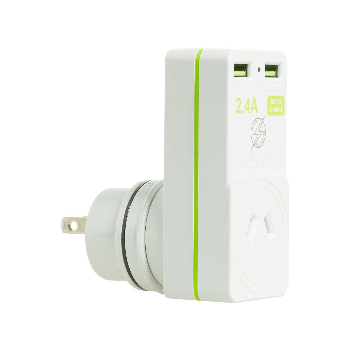Korjo 2 port USB charger and adaptor Australia and NZ to Japan