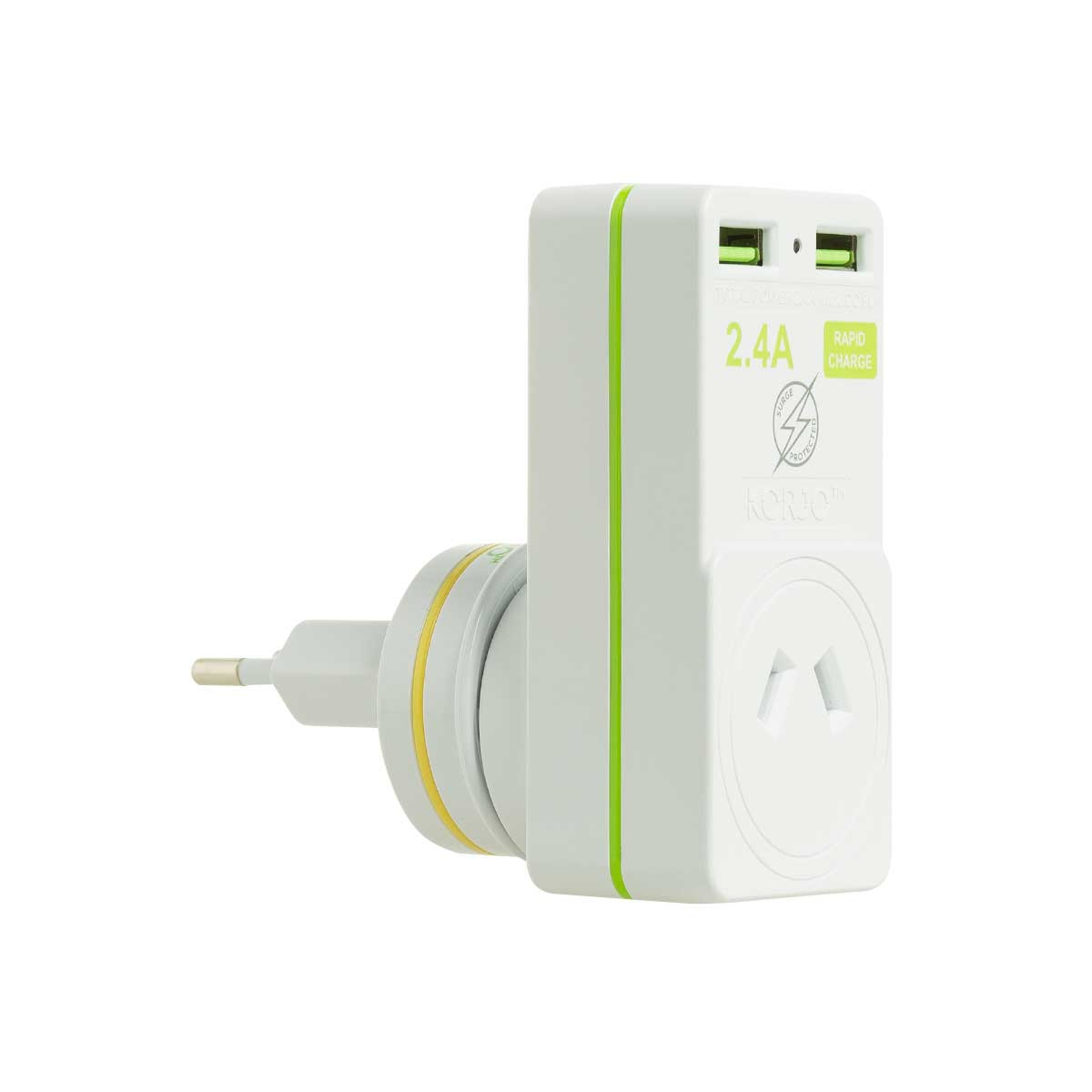 Korjo 2 port USB charger and adaptor Australia and NZ to Italy, Switzerland