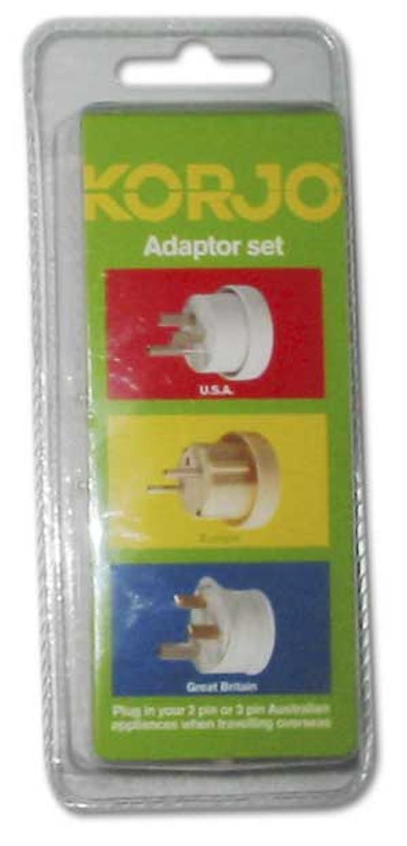 Korjo Electrical Adaptor Set: Australia and NZ -> Europe, UK and USA