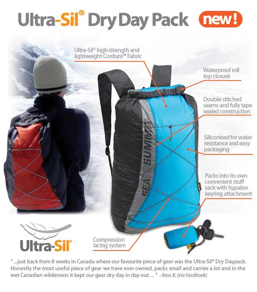 Sea to Summit's 20 litre waterproof day pack folds down to a compact pocket size making it an ideal extra travel day pack