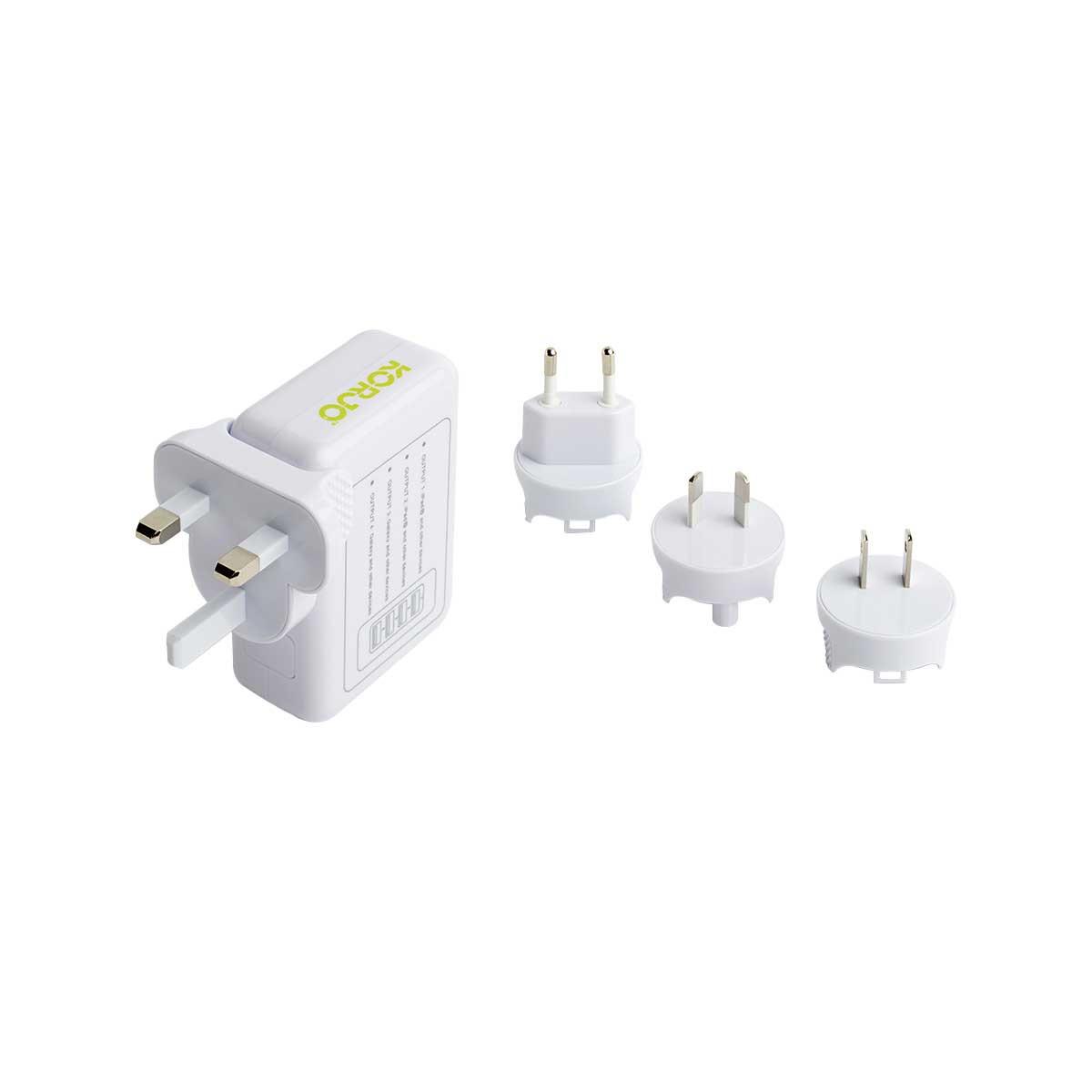 Korjo 4 port USB charger with international plugs