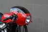 """WHITE Cafe Racer Fairing Cowl with Clear Windshield and 6 3/4"""" Black Headlight"""