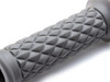 "Grey Diamond Motorbike Hand Grips 22mm (7/8"") for Scrambler Brat Bike Cafe Racer"