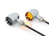 Chrome Mini LED Motorbike Indicators - CNC Aluminium with Black Bezel featuring Polished Inserts - PAIR
