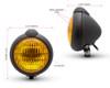 Motorbike Headlight Classic Custom Black - Yellow Lens - for Bobber Chopper Scrambler Cafe Racer - 12V 35W