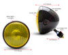 "7.7"" Motorbike Headlight - Gloss Black with Yellow Lens for Scramblers & Cafe Racers"