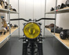 """7.7"""" Motorbike Headlight - Gloss Black with Chrome Bezel & Yellow Lens for Scramblers & Cafe Racers"""