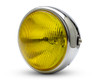 "7.7"" Motorbike Headlight - Chrome with Yellow Lens for Scramblers & Cafe Racers"