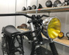 """7.7"""" Motorbike Headlight - Chrome with Yellow Lens for Scramblers & Cafe Racers"""