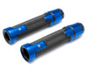 Blue Motorbike Hand Grips & Bar Ends for 22mm bars - Anodised Aluminium - High Quality