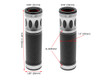 Silver Motorbike Hand Grips for 22mm bars - Anodised Aluminium - High Quality