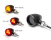Motorbike Rear LED Indicators with Stoplight and Taillight - Integrated Bullet Style - CNC Billet Aluminium