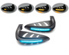 Motorbike Quad ATV Handguards - BLACK with LED Indicators & BLUE Daytime Running Lights