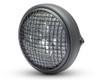 "7.7"" LED Projector Headlight with Mesh Grill - Matt Black 12V 66W for Cafe Racer & Scrambler - SHALLOW"