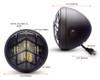"Motorbike Headlight LED 7.7"" with Diagonal Grill - Retro Cafe Racer & Scrambler"