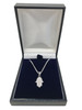 Sterling Silver Hamsa Pendant set with Cubic Zirconias on a Sterling Silver Chain