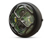 """Motorbike Headlight LED 7.7"""" with Contrast Cut Grill & Camoflage Lens for Retro Cafe Racer & Streetfighter"""