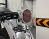 Retro LED Stop Tail Driving Light with Vintage Mesh Grill - Chrome
