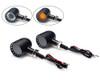 Motorbike Indicators LED Integrated Driving Lights Custom Chopper Black PAIR
