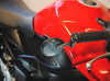 Pair of Carbon Fibre Pattern Round Bar End Motorcycle Motorbike Mirrors