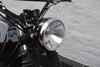 Motorcycle Headlight with 32mm - 40mm Brackets Black Metal Custom Project Retro