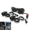 BLACK Aluminium Bullet Spot Fog Lights with Complete Wiring Kit & Fork Clamps