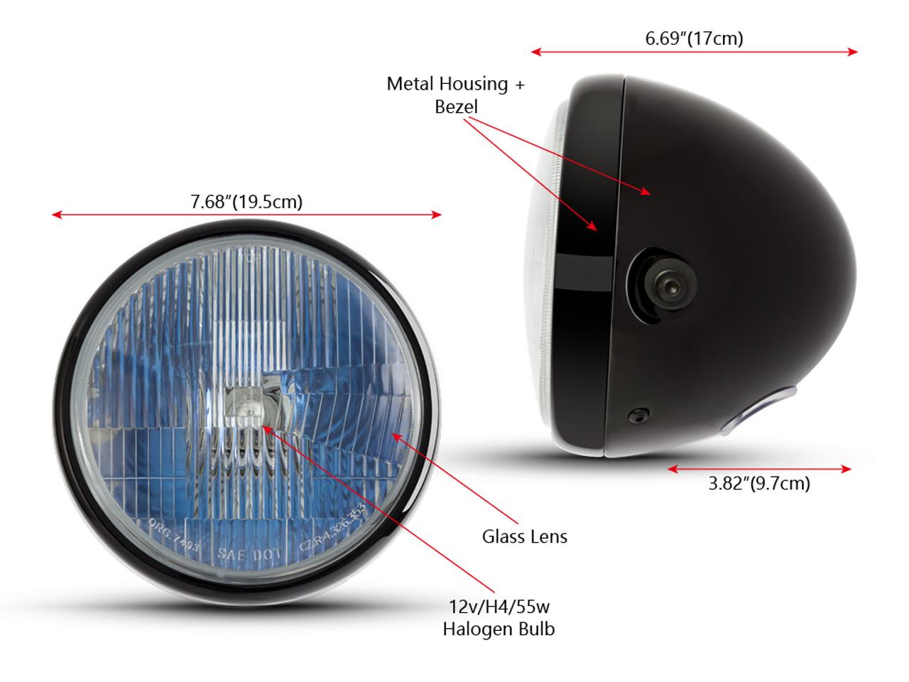 Motorbike Headlight 7.5 inch Gloss Black Metal H4 12V 55W