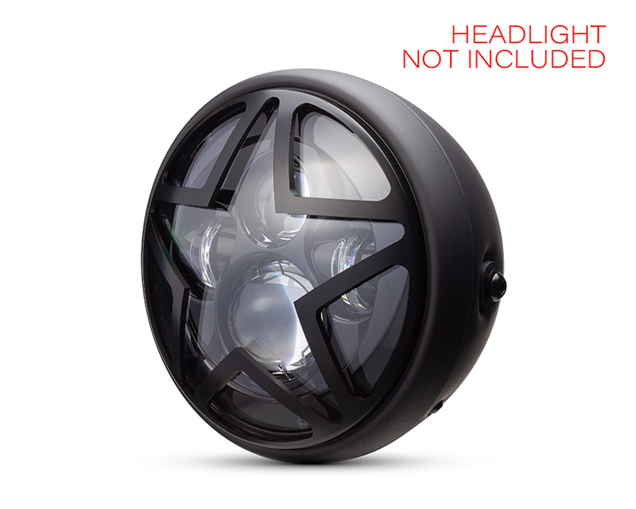 Motorcycle Metal Headlight Cover 7 INCH Matt Black Star Design Grill