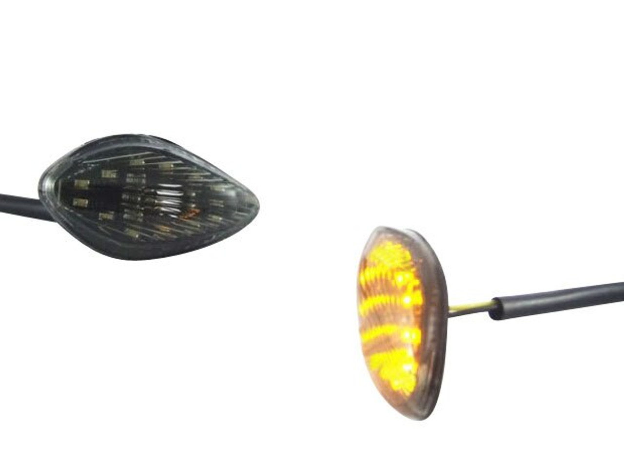 Clear Lens with Amber Bulbs Micro Slim Fairing Universal Motorcycle Indicators