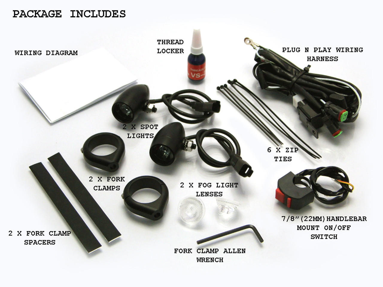 Black Aluminium Bullet Spot Fog Lights With Complete Wiring Kit Light Harness Fork Clamps