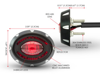 LED Stop & Tail Light for Retro Project Cafe Racer Motorbikes Motorcycles - Oval CNC Machined Billet Aluminium