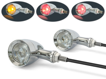 CHROME Retro Motorbike Motorcycle Integrated LED Indicators + Stop & Taillights