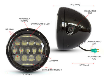 "Headlight 7.5"" Projector LED for Cafe Racer Retro Custom Motorbike Motorcycle"