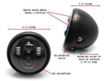 "Motorbike Motorcycle LED 6.5"" Headlight for Custom Project Retro Cafe Racer Bike"