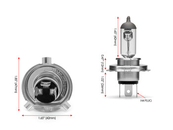 Halogen Headlight Bulb with 12V / H4 / 55W - Hi & Low Beam