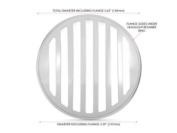 "5.75"" INCH Chrome Prison Grill Metal Headlight Cover for Scrambler Brat Motorbike"