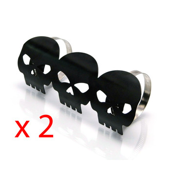PAIR of Black Skull Metal Exhaust Heat Shields Guards for Motorbike Motorcycle Trike