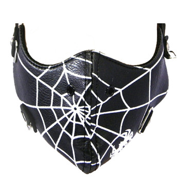 Biker's Face Mask - Black Spider Web - PU Leather - Lined & Windproof