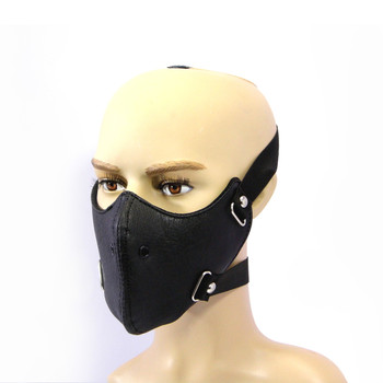 Biker's Face Mask - Plain Black - PU Leather - Lined & Windproof