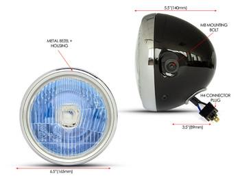 """Motorbike Headlight 6.5"""" Gloss Black & Chrome Bezel for Retro Cafe Racer Project"""