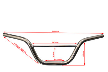 "Chrome Handlebars for Monkey Bike Pit Bike - 22mm 7/8"" with 4.5"" Rise"