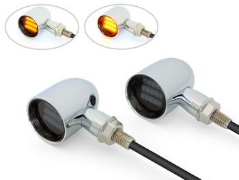 Chrome Mini LED Motorbike Indicators - CNC Aluminium with Black Bezel - PAIR