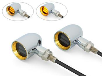 Chrome Mini LED Motorbike Indicators - CNC Aluminium with Brass Bezel - PAIR